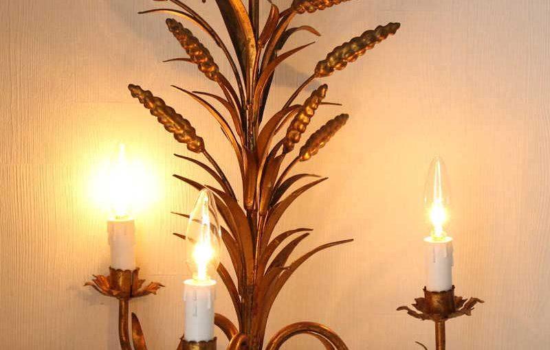 イタリアトールウエアの麦の穂シャンデリア
